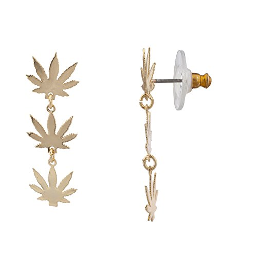 Lux Accessories Gold Tone Marijuana Sign Weed Leaf Hippie Tiered Dangle Earrings for $<!--$8.95-->