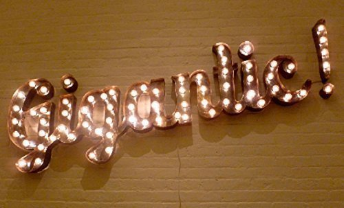 Black Iron Torched Cursive Lighted Marquee Letters Sign - A-Z and 0-9 and all charcters ()