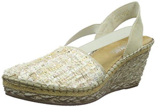 Rieker69478 Women Closed Toe - Sandalias de Punta Descubierta Mujer Blanco - Weiß (weiss-rose/offwhite / 31)