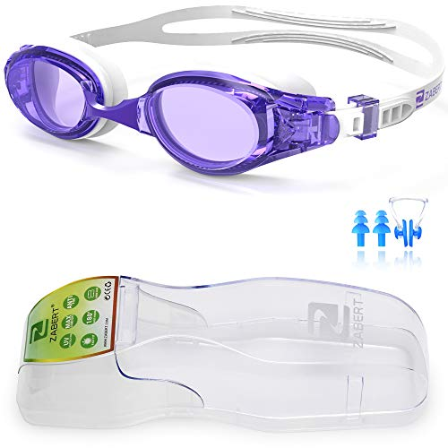 Adjusts Water - ZABERT Swim Goggles, W5 Purple White Pro Swimming Goggles for Women Men Youth Adult Kids Girls Boys - Clear Lens Anti Fog UV Quick Adjust Large Size Wide View - Indoor Open Water