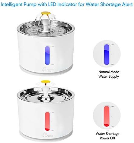 Fuente de agua para gatos de acero inoxidable, 81 oz / 2,4 L, bomba inteligente con indicador LED para alerta de escasez de agua, ventana de nivel de agua 3