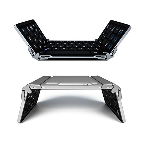 LEVREA Portable Bluetooth Keyboard, Foldable Keyboard Mini Bluetooth Keyboard Wireless Rechargeable Keyboard for iOS iPad, iPhone, Android, Windows, Laptops and Smartphones, Aluminum Alloy by LEVREA