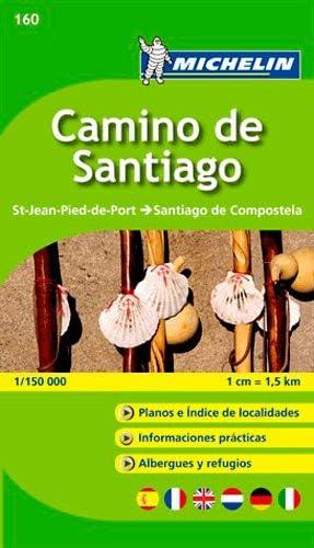Mapa-Guía Camino de Santiago: St-Jean-Pied-de-Port - Santiago de Compostela 1/150 000: 160 (Mapas Temáticos Michelin)