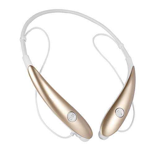 new GJT Hv900 Wireless Bluetooth Stereo Headset Universal Vibration Neck Bluetooth Style Earphone Headphone for iPhone Android Cellphones Enabled Bluetooth Device (GOLD)