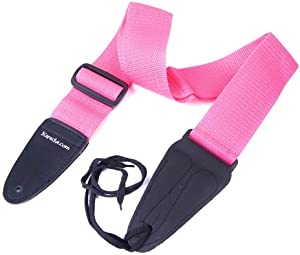 pink nylon webbing acoustic electric bass guitar strap fully adjustable with string tie. Black Bedroom Furniture Sets. Home Design Ideas