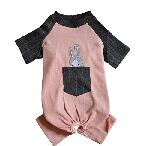 [Dog Onesie for Puppy Small Pet 4 Legs Pink and Grey Shirt Jumpsuit with Pocket and Rabbit on the Back Size] (Business Suit Dog Costume)