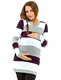 Happy Mama Womens Maternity Stretch Knit Colour Block Jumper Dress Stripes. 405p