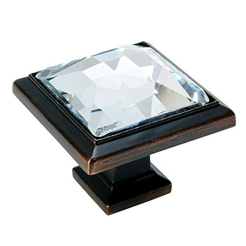 5 Pack - Cosmas 5883ORB-C Oil Rubbed Bronze Cabinet Hardware Square Knob with Clear Glass - 1-1/4'' Square