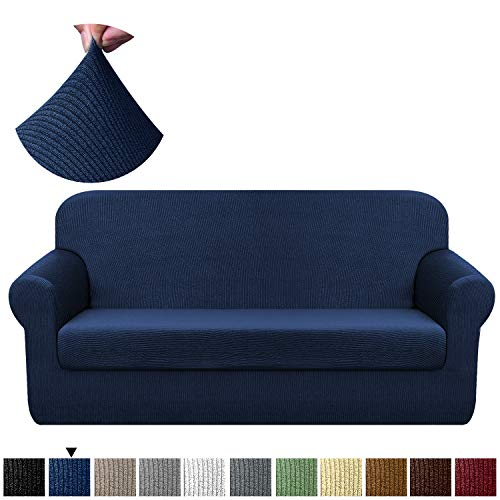 - Chelzen Stretch Sofa Covers Living Room 2-Piece Couch Covers Striped Furniture Protectors Spandex Fabric Dog Sofa Slipcovers (Sofa, Navy Blue)