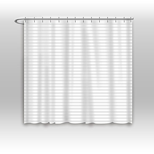 (Vandarllin Hotel Quality Mildew Resistant Washable Fabric Shower Curtain Liner -Extra Wide 84 x 72, Water-Repellent, Elegant White Tonal Damask Stripe, Eco Friendly & PVC-Free)