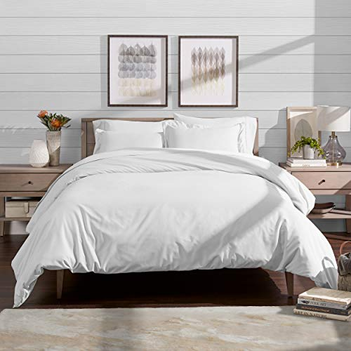 Bare Home Luxury 3 Piece Duvet Cover and Sham Set - Full/Queen - Premium 1800 Ultra-Soft Brushed Microfiber - Hypoallergenic, Easy Care, Wrinkle Resistant (Full/Queen, White)