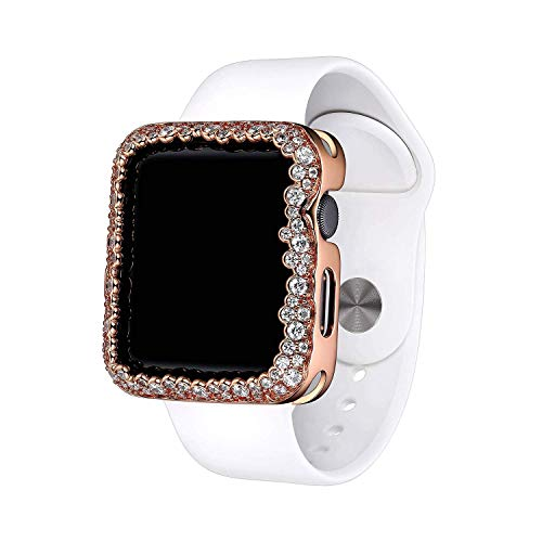 SKYB 14K Rose Gold Plated Champagne Bubbles Jewelry-Style Apple Watch Case with Cubic Zirconia CZ Border - Large (Fits 42mm iWatch)