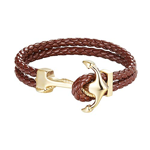 Cyan mango Stainless Steel Genuine Leather Bracelets & Bangles Fashion Vintage Anchor Bracelet for Men Women Sport Hook Male,19CM