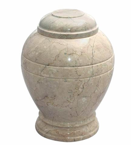 Khan Imports Small Beige Marble Urn, Decorative Stone Keepsake Urn for Ashes - Holds 20 Cubic Inches (Stone Keepsake)