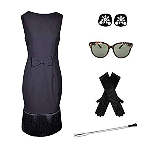 Complete Audrey Hepburn Breakfast at Tiffanys Black Tassel Dress Costume Set ()