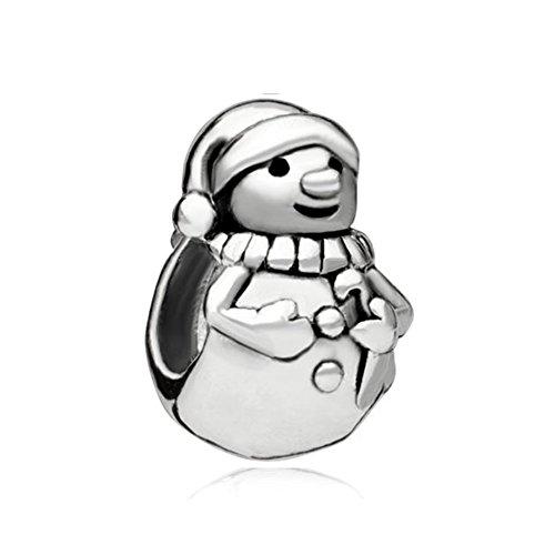 LovelyCharms Christmas Snowman Bead Fits Pandora Charm Bracelets