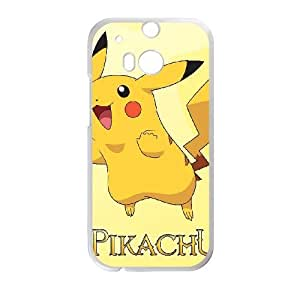 Personalized Durable Cases HTC One M8 Phone Case White Vwiho Pikachu Protection Cover