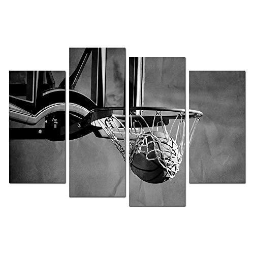 - HOMEOART Black and White Basketball Pictures Sports Themed Canvas Wall Art Giclee Prints Stretched Framed Artwork for Boys Bedroom Living Room Decoration 4 Panels