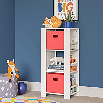 RiverRidge Home RiverRidge Storage Tower, White with Coral Bins: Kitchen & Dining