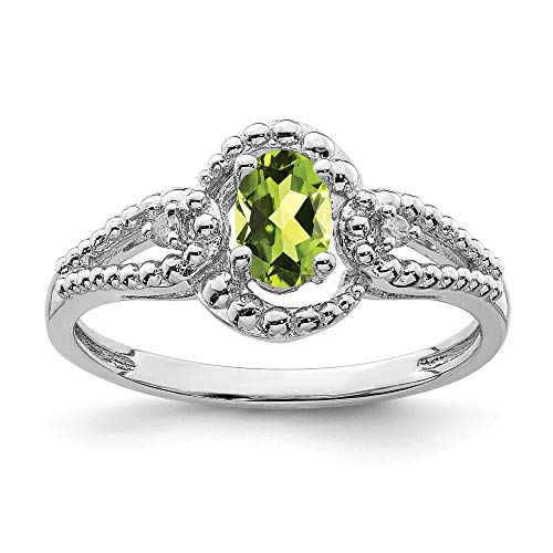 - 925 Sterling Silver Green Peridot Diamond Band Ring Size 8.00 Birthstone August Gemstone Fine Jewelry Gifts For Women For Her