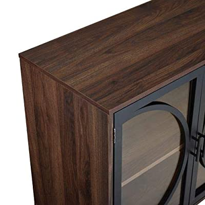 """WE Furniture 30"""" Metal Door Accent Console Cabinet with Tempered Glass - Dark Walnut"""