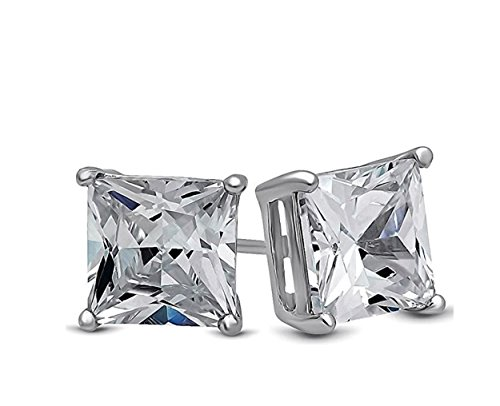 teel Studs Earrings Men Women Girls Boys Square Princess Cut Basket Setting Cubic Zirconia Hypoallergenic Earrings WITH A FREE GIFT ROUND STUDS EARRINGS (4 MM) ()