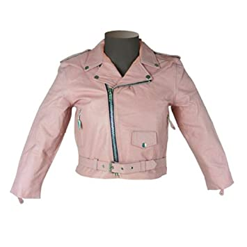 Amazon.com: Girls Kids Pink Leather Jacket KJ742 S: Automotive