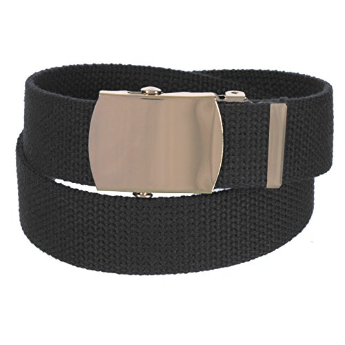 Belt Gold Buckle Bling (Sunny Belt Mens 1 ¼ Inch Wide Cut To Fit Canvas Web Belt Gold Buckle)