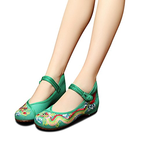 Veowalk Chinese Dragon Embroidered Women Canvas Shoes Buckles Cotton Cloth Costume Dance Flat Ballets EU37
