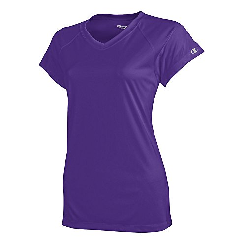 Lined V-neck Jersey - Champion by Women's Essential Double Dry V-Neck Tee_Purple_XL