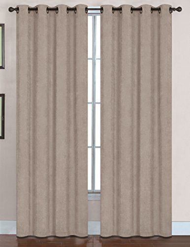 RT Designers Collection Hudson Grommet Window Curtain Panel, 56 x 84″, Taupe