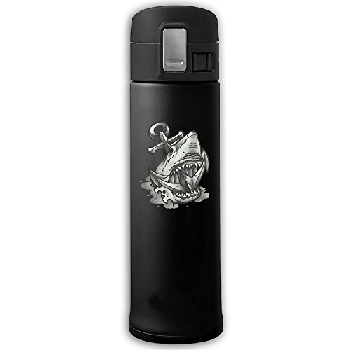 (Dark Shark Insulation Vacuum Cup Bouncing Cover Stainless Steel Mug Bottle Coffee)