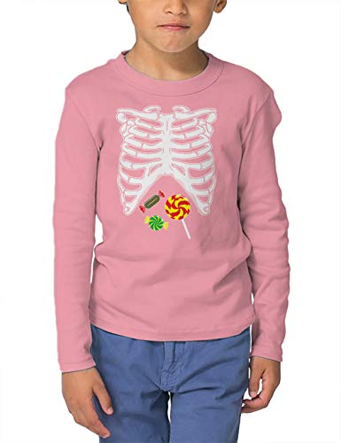 HAASE UNLIMITED Skeleton Ribcage with Candy - Costume Long Sleeve Toddler Cotton Jersey Shirt (Light Pink, 2T)