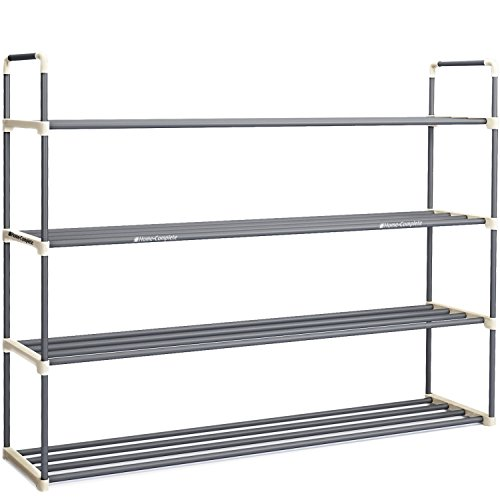 Home-Complete HC-2103 Shoe Rack with 4 Shelves-Four Tiers for 24 Pairs-for Bedroom, Entryway, Hallway, and Closet-Space Saving Storage and Organization, 4 tiers-24 Shoes, White and Grey