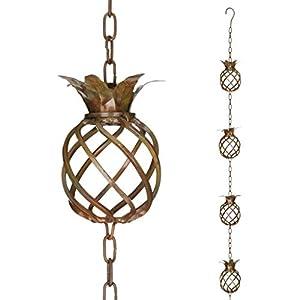 Regal Rain Chain Copper Finish Pineapple 8.5 Foot Decorative Downspout Replacement