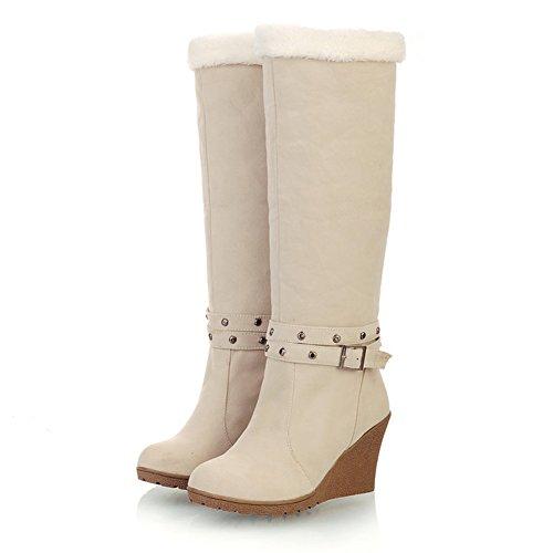 Ifantasy Winter Warm Snow Boots For Women Suede High Heel Wedges Buckle Mid Calf Boots Beige