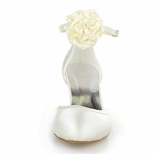 JIA JIA 1403119 Damen Brautschuhe Geschlossene Zehe Mittlere Ferse Satin Blumen Satin Pumps Hochzeitsschuhe Beige