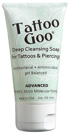 Tattoo Goo Deep Cleansing Soap for Tattoos & Piercings 2oz – New Formula (Fragrance Free Antibacterial Soap)
