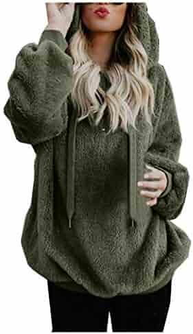 Women Hooded Sweater Coat,Winter Warm Wool Loose Sweatshirt Jacket Side Pockets Cotton Zip Long Sleeve Coat Outwear