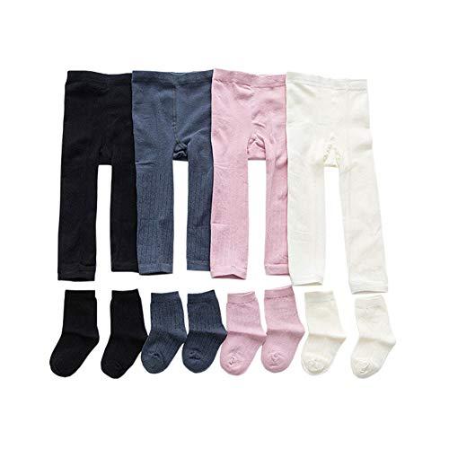 JWWN 4Pack Little Girls Leggings Pants & Socks Toddler Cotton Ribbed Stocking,2T