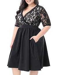 Women's Half Sleeves V-Neckline Lace Top Plus Size...