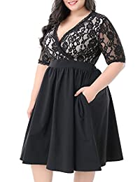 Nemidor Women's Half Sleeves V-Neckline Lace Top Plus Size Cocktail Party Swing Dress