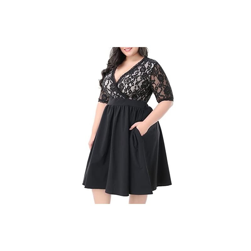 bf5e200895b Nemidor Women s Half Sleeves V-Neckline Lace Top Plus Size Cocktail Party  Swing Dress