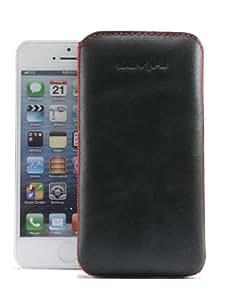 Savelli 25ML-01-G4 Lentini - Funda de cuero con tapa para Apple iPhone 5, color negro y rojo