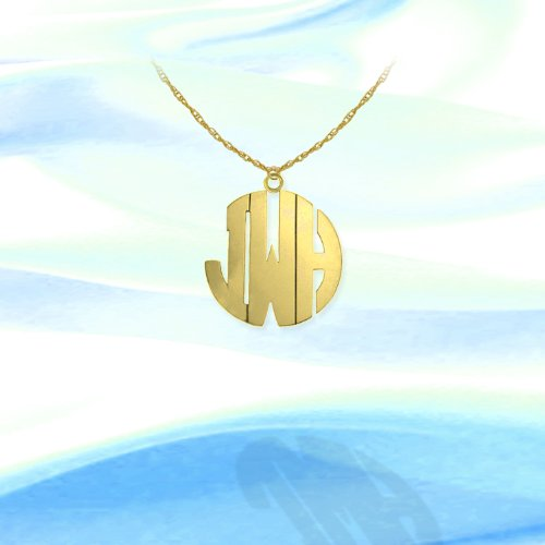 Monogram Necklace 1/2 inch 24K Gold Plated Sterling Silver Handcrafted Cutout Personalized Initial Necklace - Made in ()