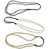 Polytree 3pcs Fashion Retro Women's Elastic 2 Layer Pearl Hair Band Headband