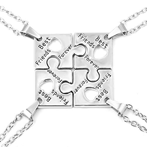 FJ 4 BFF Best Friends Necklaces Puzzle Friendship Necklace 4 for Girls (Four Best Friend Necklaces)
