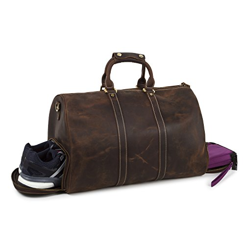 BAIGIO Leather Weekend Bag Travel Duffel Tote Luggage with Shoe Bag (Brown) by BAIGIO