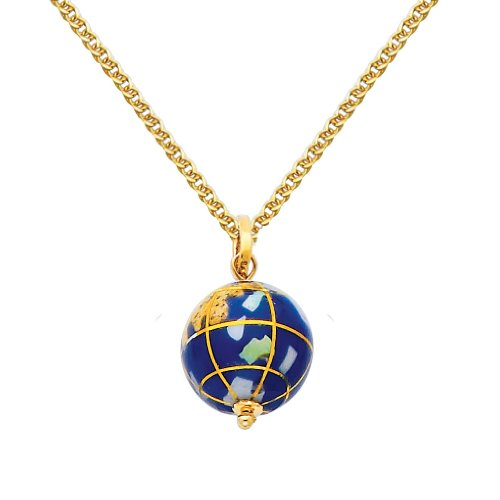 14k Gold Globe (Wellingsale 14k Yellow Gold Polished Earth Globe Enamel Charm Pendant with 1.5mm Flat Open wheat Chain Necklace - 22