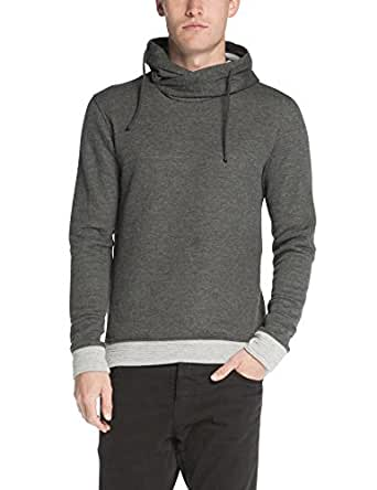 Scotch & Soda Men's Twisted Hood Sweatshirt In Paisley Jacquard Pattern, Charcoal Melange, Large